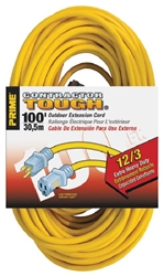 12/3 Yellow Power Cord 100' -Rated 15A/125V/1875W