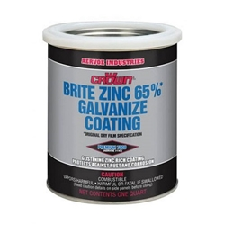 Aervoe Crown Brite 65% Galvanize Coating-4 Qt Crown Brite 65% Galvanize Spray Coating, Galvanizing Paint, Zinc coating,, zinc paint. zinc spray, re galvanize, Crown Brite Paint