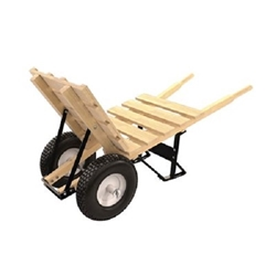"Bon 11-660 Brick & Tile Double Wheel Cart- Wood Handle & 16""  Knobby Tires"