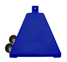 Blue Pyramid Sign Base with wheels