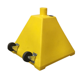 Yellow Pyramid Sign Base with wheels