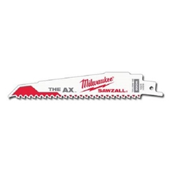 "Milwaukee 6"" 5-8TPI ""The AX"" Reciprocating Sawzall Blade- 10 pc Pack Sawzall Blades, reciprocating saw blades. Demo blades,power saw blades, wood cutting blades, blades for cutting metal"