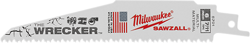 "Milwaukee 6"" 8TPI ""Wrecker"" Reciprocating Sawzall Blade- 10 pc Pack Sawzall Blades, reciprocating saw blades. Demo blades,power saw blades, wood cutting blades, blades for cutting metal"