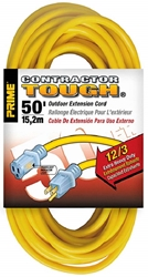 PRIME EC511830 12/3 Yellow SJTW Power Cord 50-15A/125V/1875W