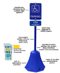 Ideal Shield Octagon Polyethylene Sign Base - Blue