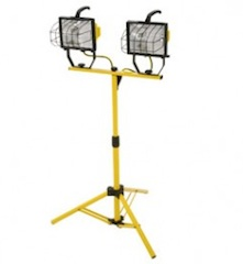 Twin Head 1000W Halogen Work Light twin head halogen light, job site light, work light, telescoping stand