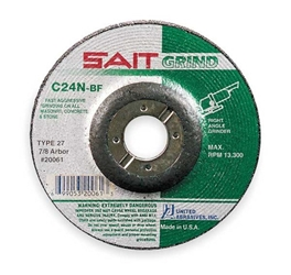 SAIT® 20061 Depressed Center Wheel, 4 in Dia x 1/4 in THK, 7/8 in- 25 pc Metal Cutting Wheels, Stainless Cutting Wheels, Cut off wheels for angle grinder, cut off wheels for chop saw, Abrasive Cutting wheel, Metal cutting blade, reinforced cut off wheel, thin metal cut off wheel